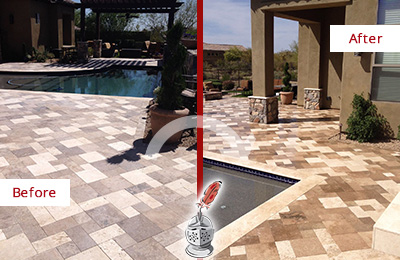 Before and After Picture of a Dull Cornelius Travertine Pool Deck Cleaned to Recover Its Original Colors