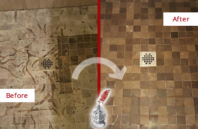 Before and After Picture of a Stained Cornelius Marble Shower Floor Cleaned to Remove Etching