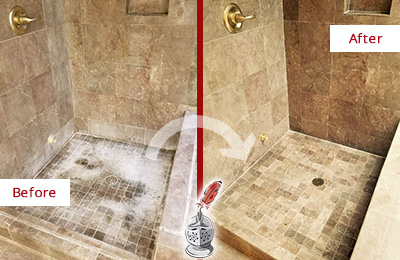 Before and After Picture of a Cornelius Travertine Shower Cleaned to Eliminate Water Spots