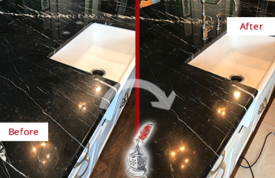 Before and After Picture of a Belmont Marble Kitchen Countertop Stone Sealed to Avoid Water Damage