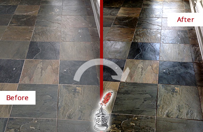 Before and After Picture of a Belmont Slate Stone Floor Sealed to Eliminate Dullness