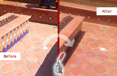 Before and After Picture of a Belmont Hard Surface Restoration Service on a Dull Terracotta Patio Floor to Recover Its Color