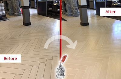 Before and After Picture of a Tega Cay Lobby Floor Cleaned to Even the Grout Color