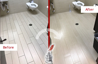 Before and After Picture of a Waxhaw Office Restroom's Grout Cleaned to Remove Dirt
