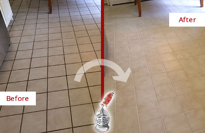 Before and After Picture of a Marvin Kitchen Tile Floor with Recolored Grout