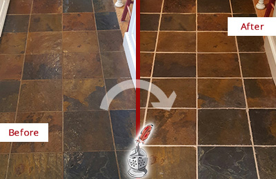 Before and After Picture of a Marvin Slate Floor Recolored Grout