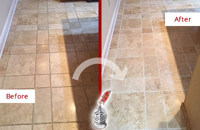 Before and After Picture of a Tega Cay Travertine Kitchen Floor Recolored Grout