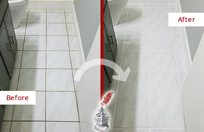 Before and After Picture of a Marvin White Ceramic Tile with Recolored Grout