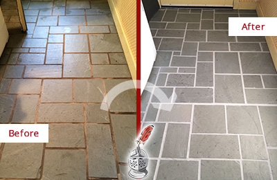 Before and After Picture of Damaged Mooresville Slate Floor with Sealed Grout