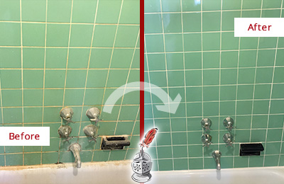 Before and After Picture of a Mooresville Bath Tub Grout Sealed to Avoid Water Damage