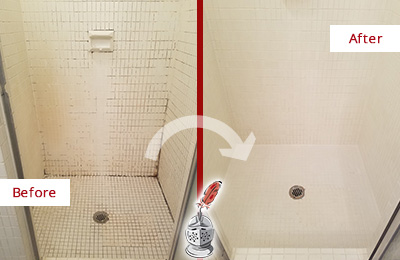 Before and After Picture of a Mooresville Bathroom Grout Sealed to Remove Mold