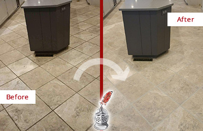 Before and After Picture of a Mooresville Kitchen Floor Grout Sealed to Remove Stains