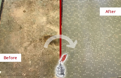 Before and After Picture of a Charlotte Mosaic Shower Cleaned to Eliminate Embedded Dirt