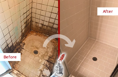 Before and After Picture of a Stallings Ceramic Shower Cleaned to Remove Grime